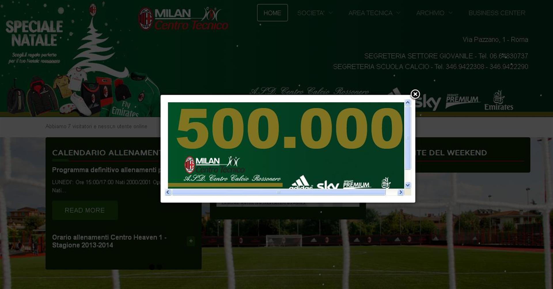 500mila contatti sito centro calcio rossonero