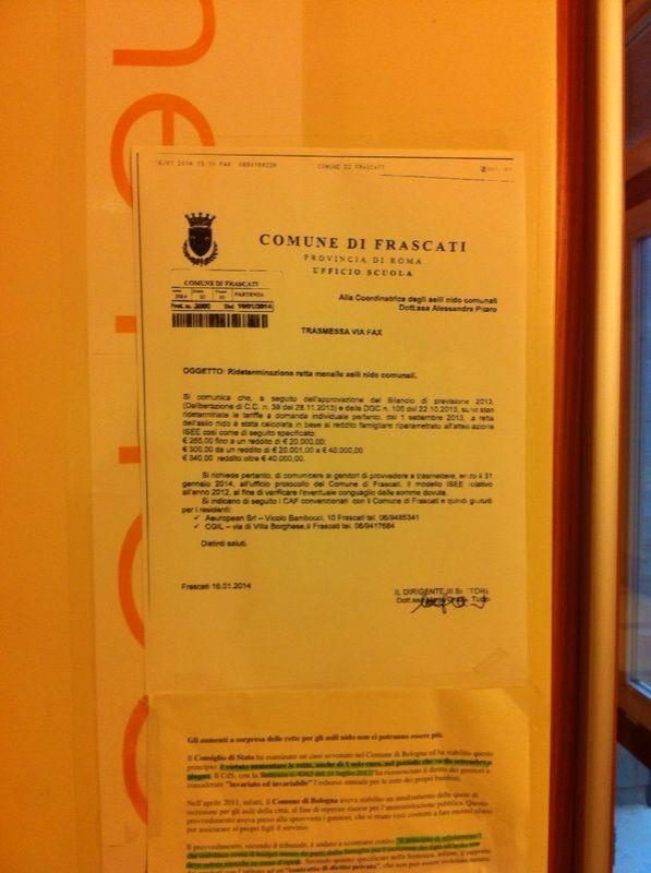 aumento rette scolastiche a Frascati