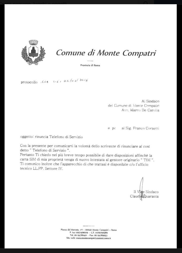 lettera_riconsegna_cellulare_assessore_quaranta